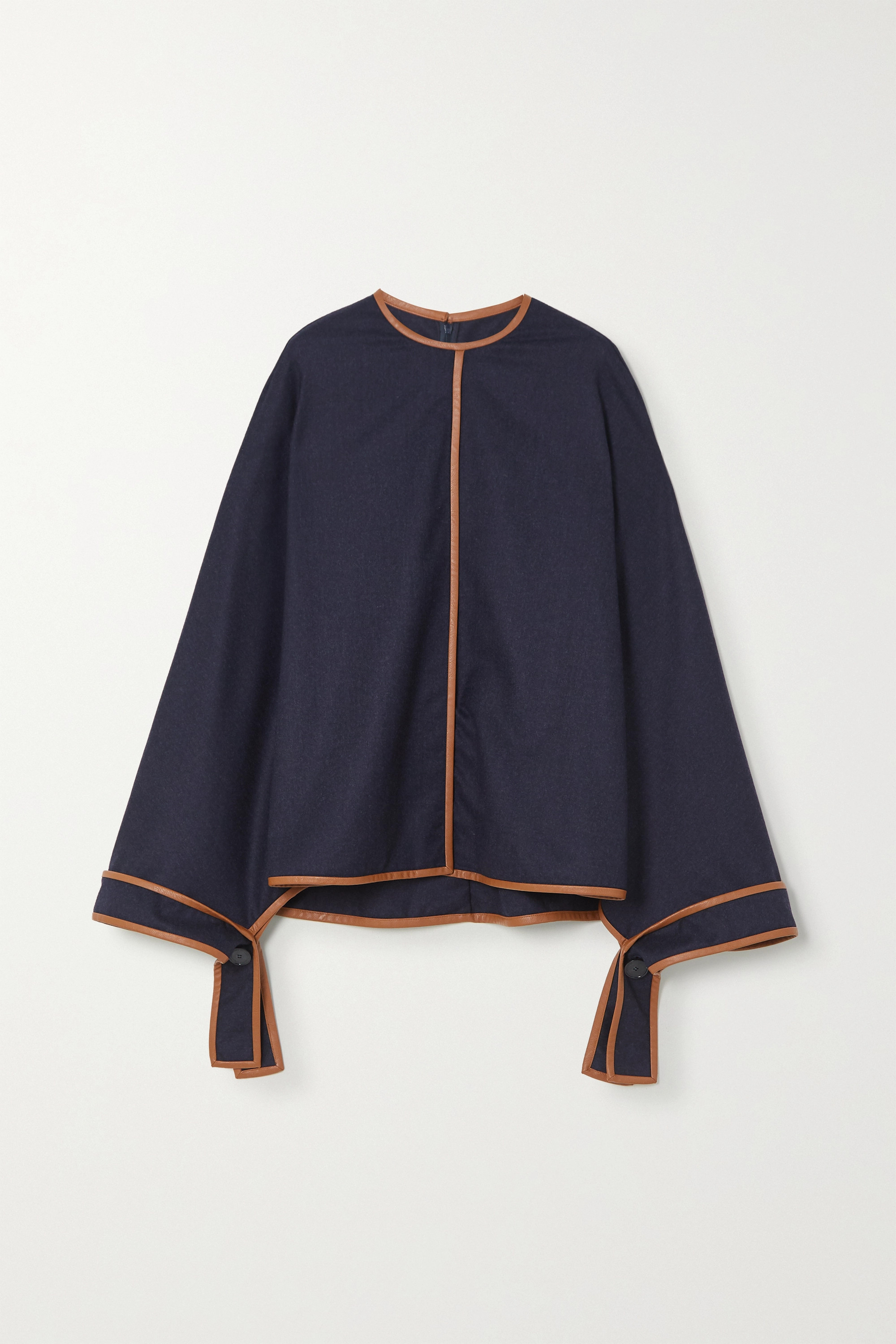 STELLA MCCARTNEY Faux leather-trimmed wool blouse
