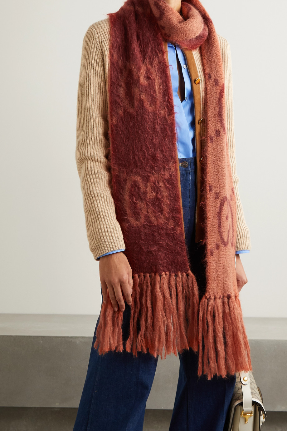 GUCCI Fringed brushed mohair-blend jacquard-knit scarf