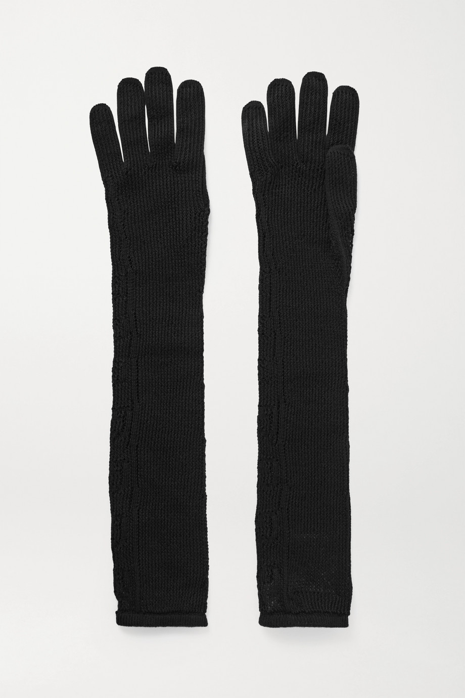 GUCCI Pointelle-knit cotton-blend gloves
