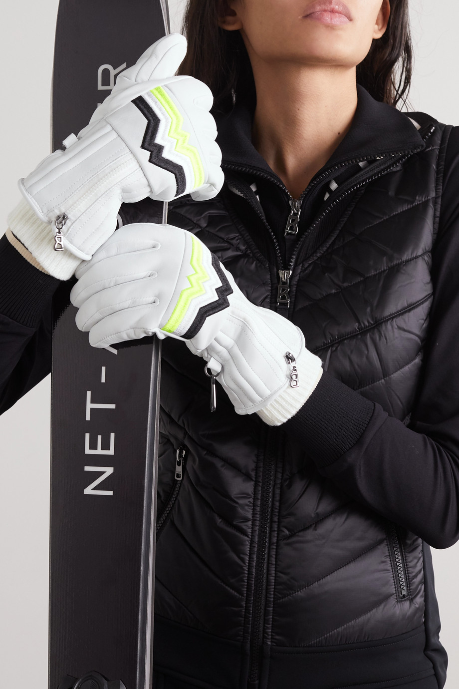BOGNER Zoe embroidered leather ski gloves