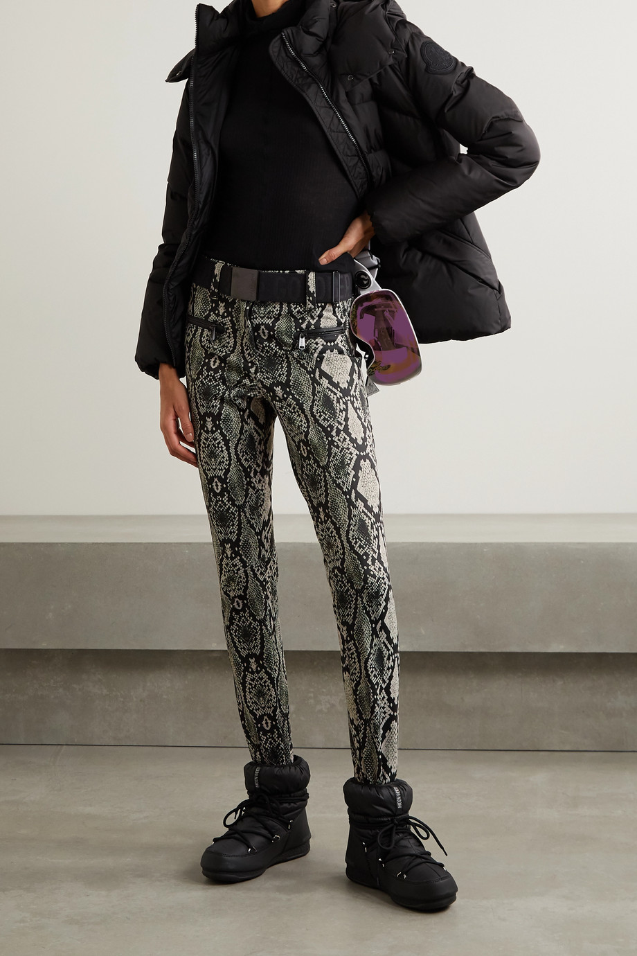 GOLDBERGH Skin belted snake-print slim-leg stirrup ski pants