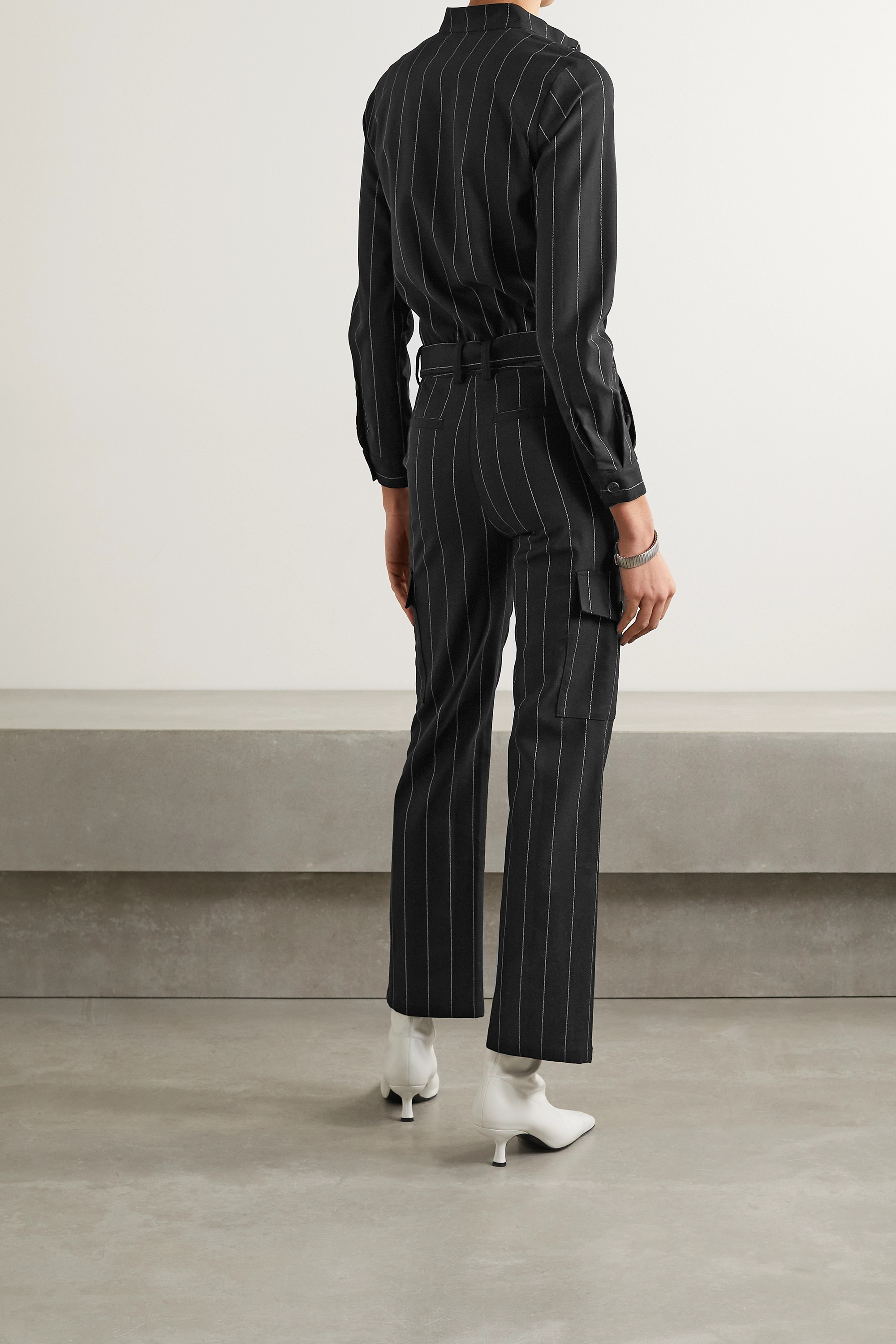 THE RANGE Zoot belted pinstriped crepe jumpsuit