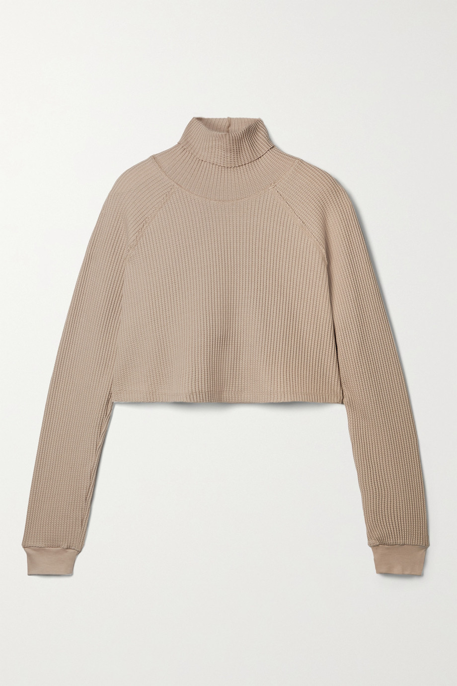 THE RANGE Stark cropped waffle-knit cotton-blend turtleneck top