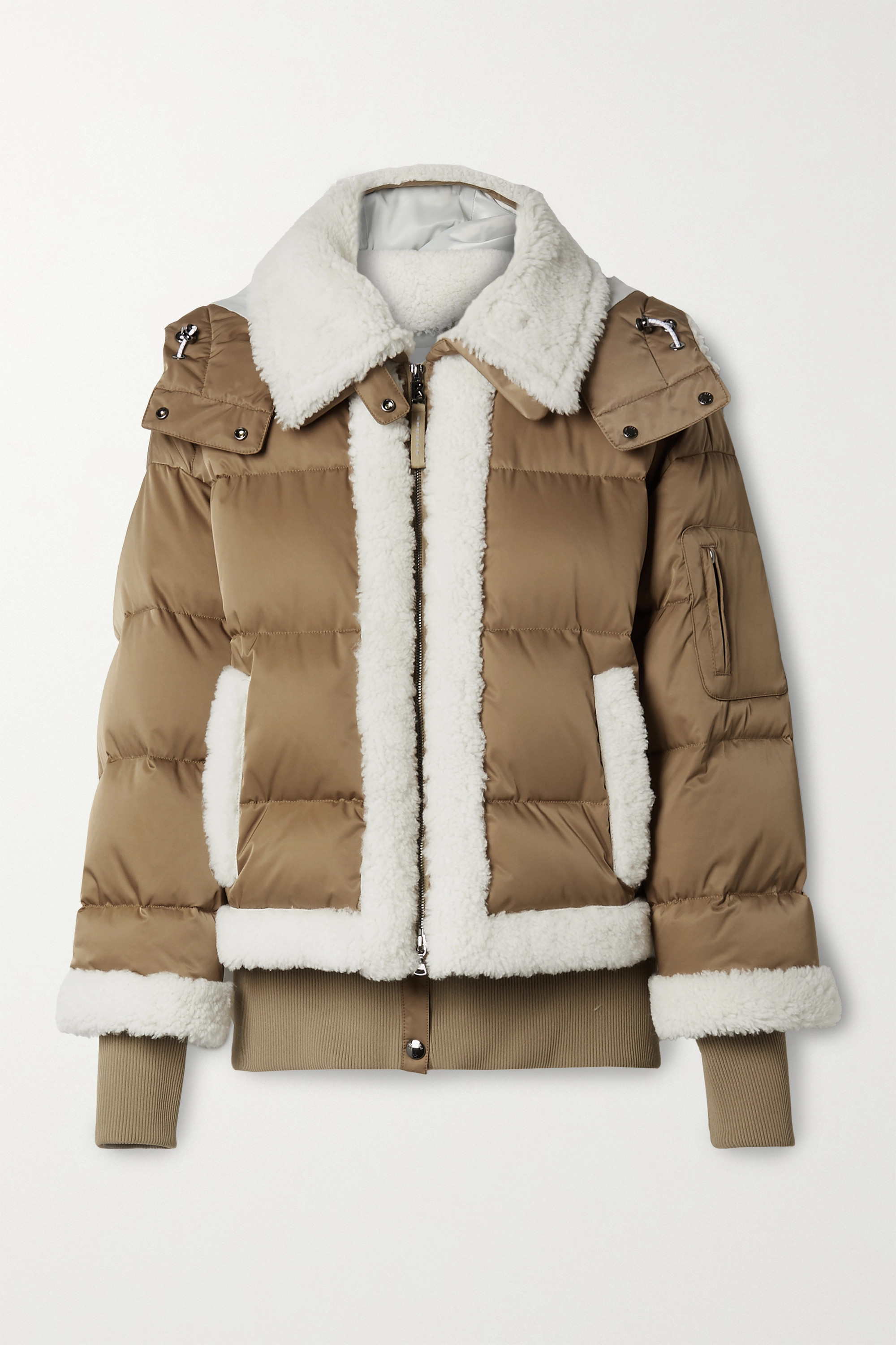 BOGNER Suza layered hooded shearling-trimmed quilted down ski jacket