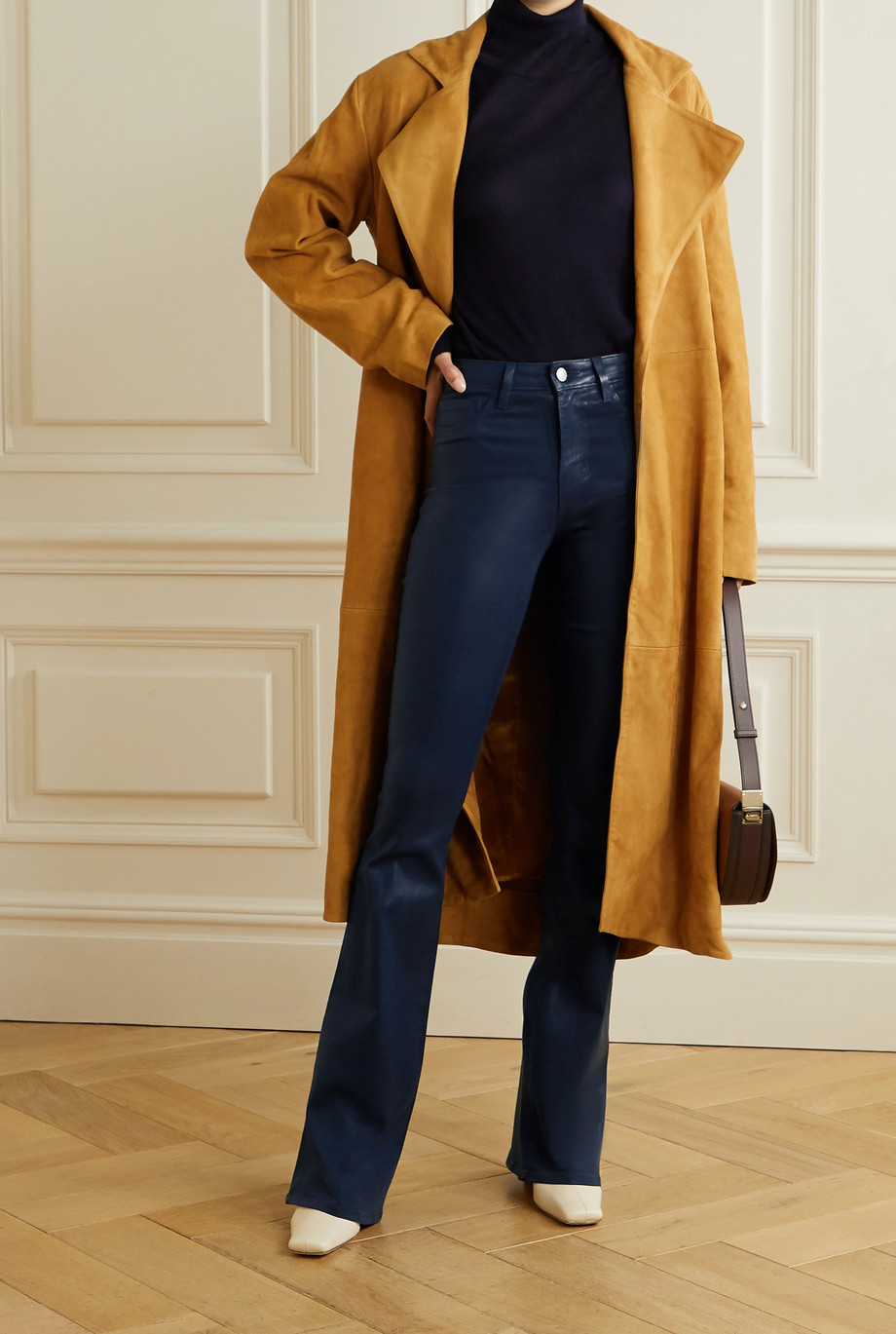 L'Agence Coated high-rise wide-leg jeans