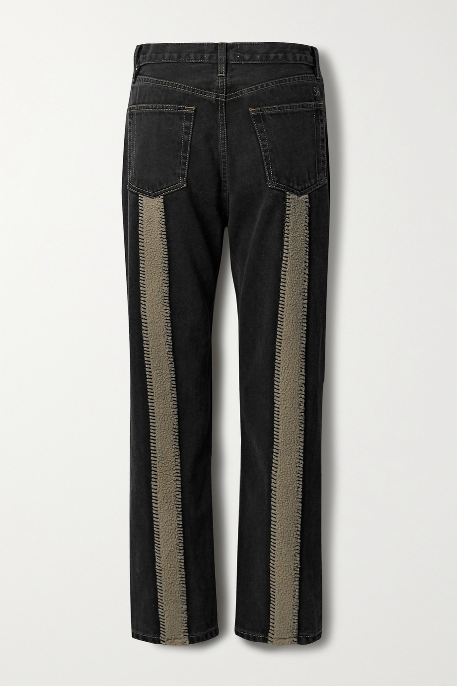 Still Here Tate Crop fleece-trimmed high-rise straight-leg jeans