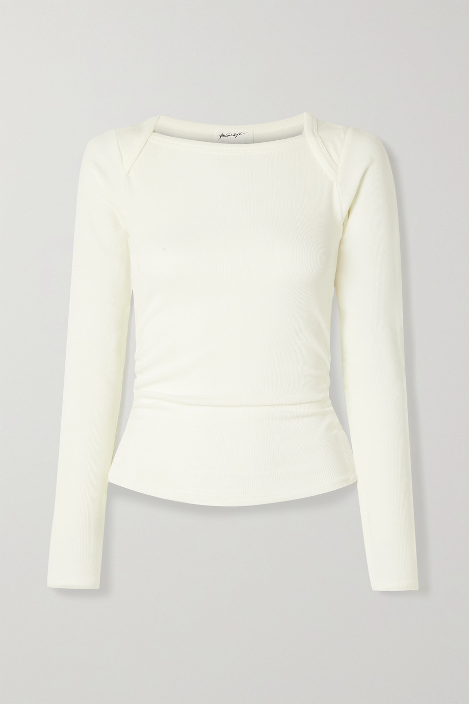 THE LINE BY K Becks ruched ribbed stretch-jersey top