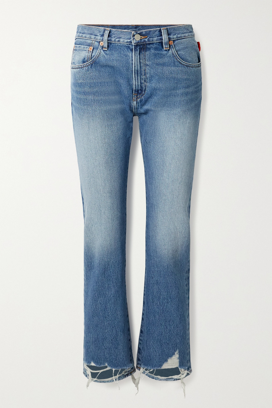 DENIMIST Joni cropped distressed mid-rise slim-leg jeans
