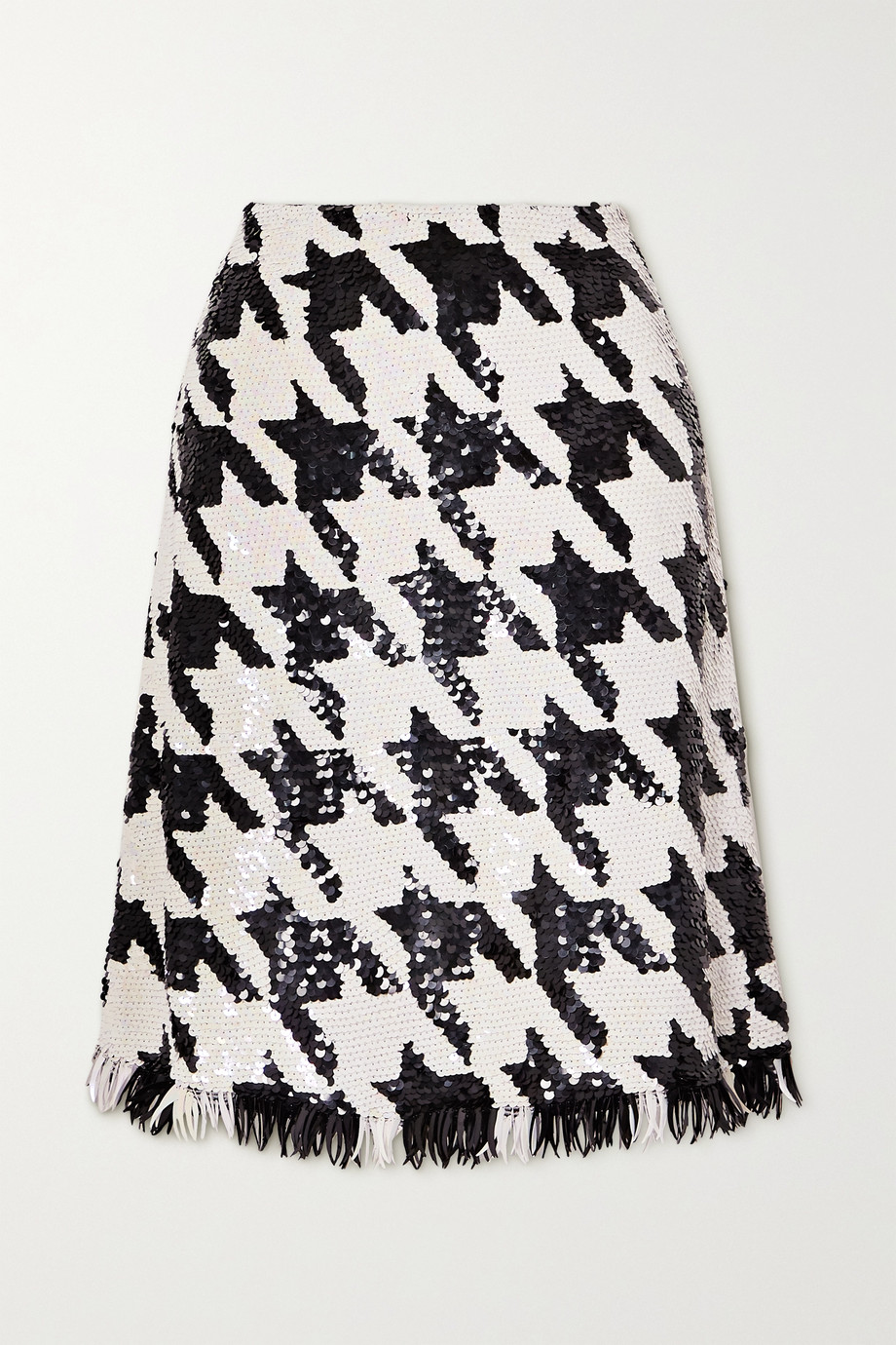 ASHISH Fringed houndstooth sequined cotton skirt