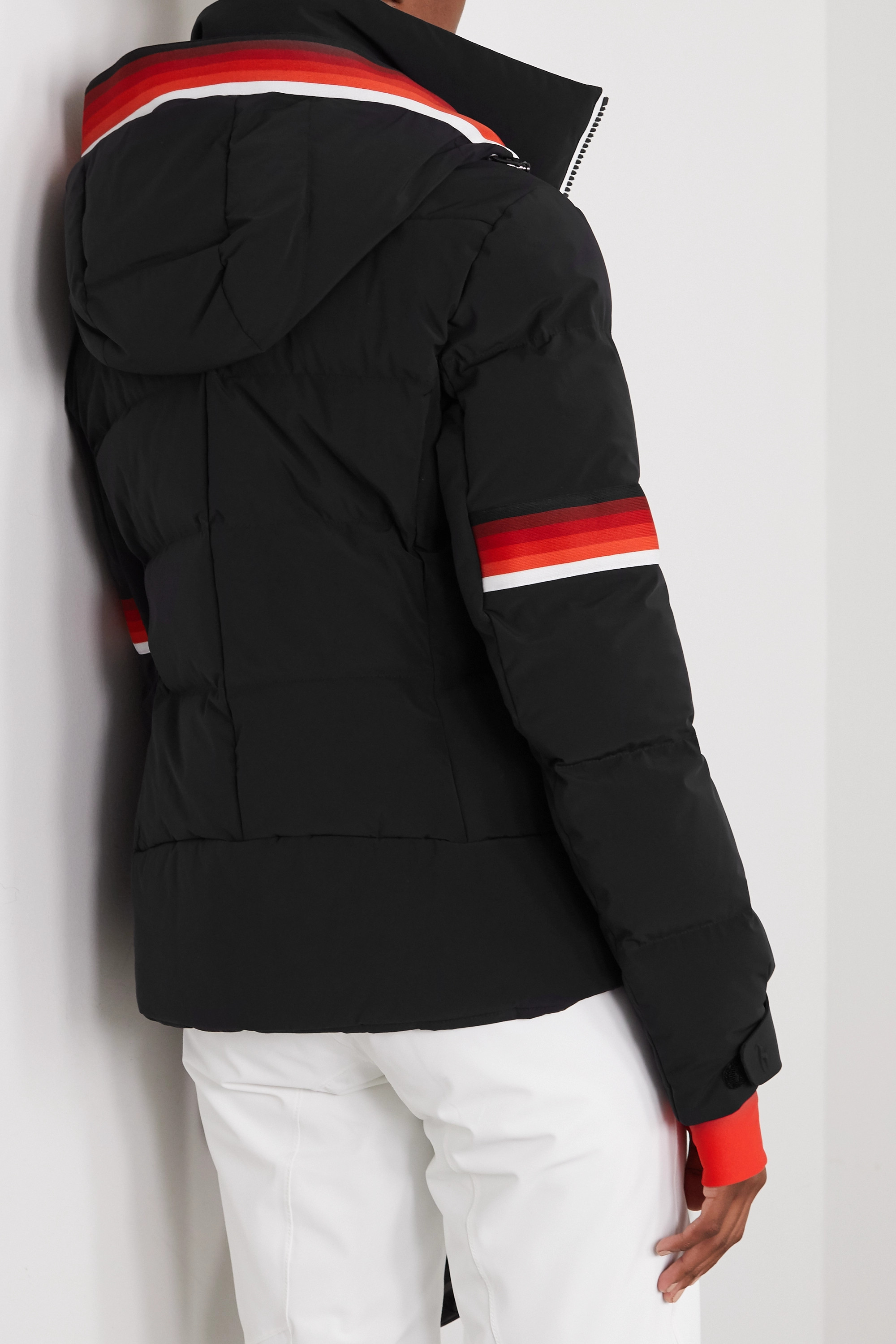TONI SAILER Mura hooded striped quilted down ski jacket