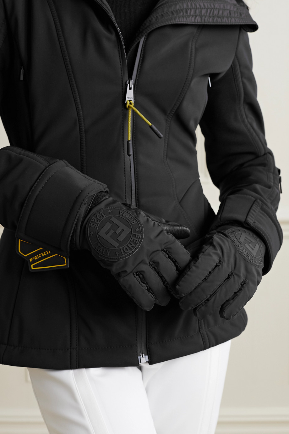 FENDI Appliquéd shell and leather ski gloves