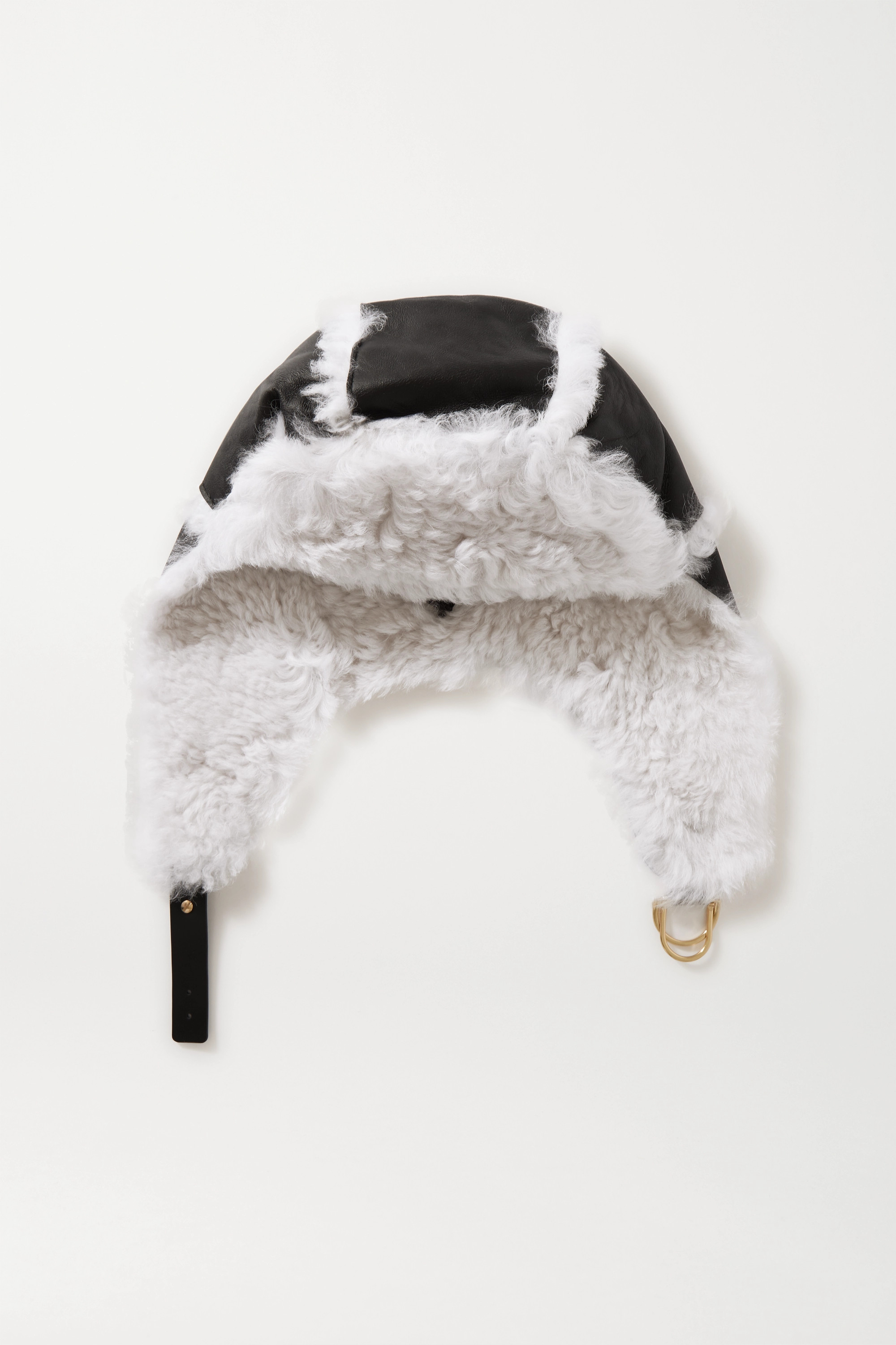 YVES SALOMON Shearling and leather hat