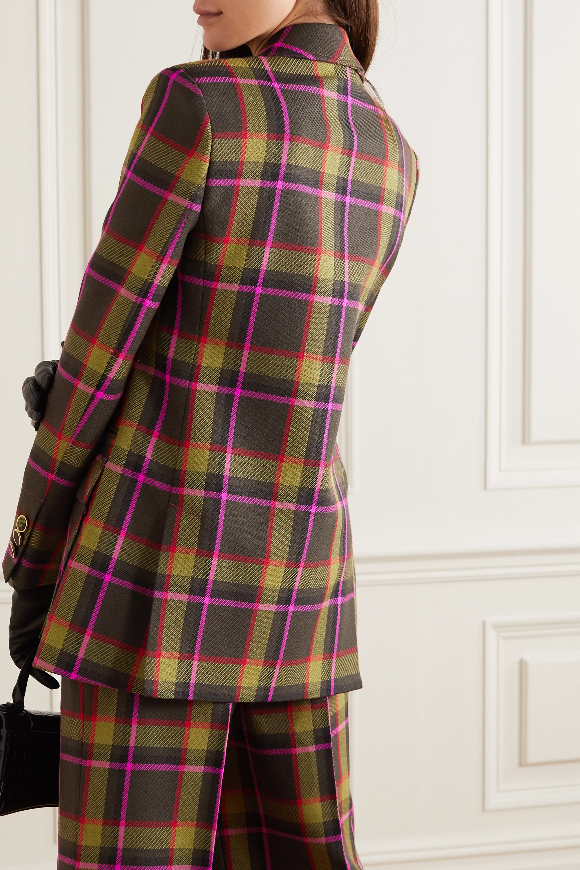 RALPH & RUSSO Double-breasted checked wool-drill blazer