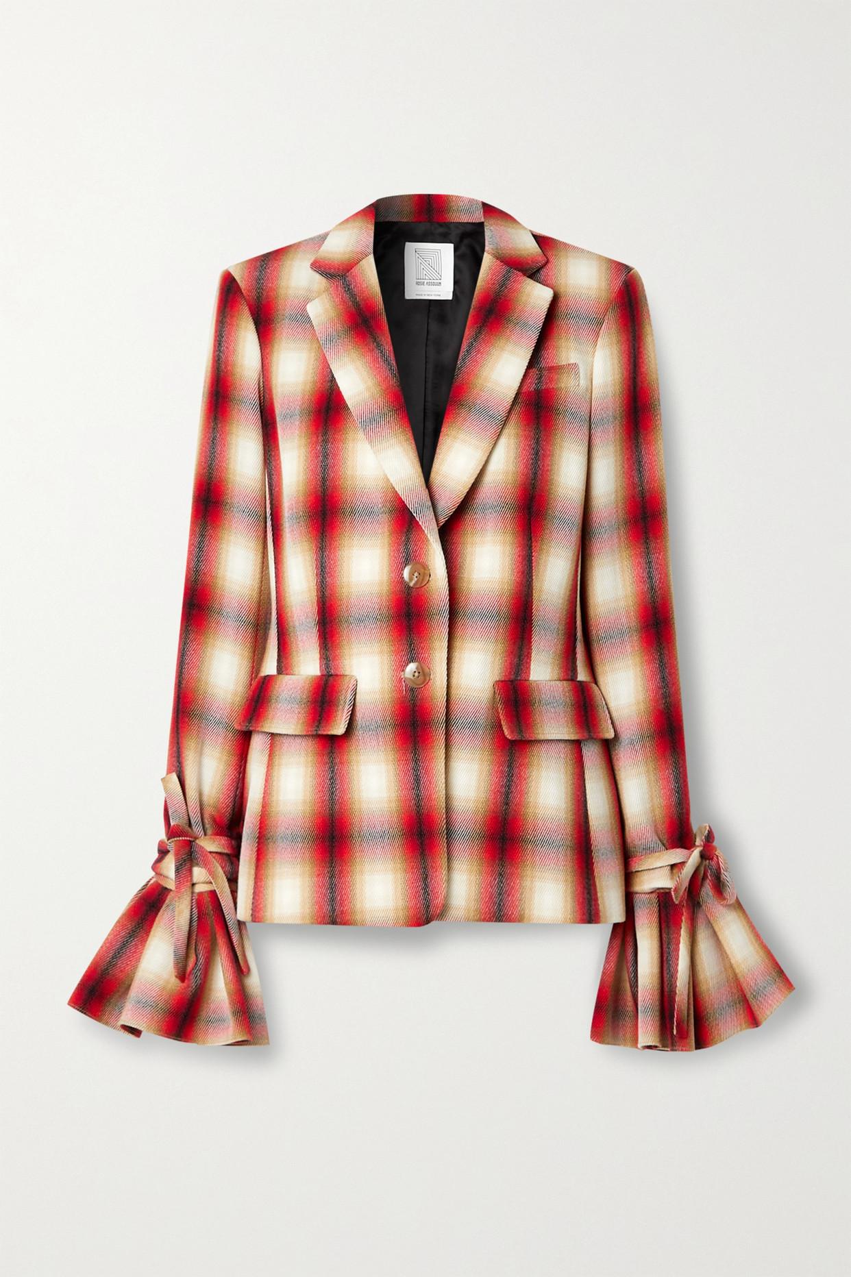 ROSIE ASSOULIN - Ruff Cuff 荷叶边格纹羊毛斜纹布西装外套 - 红色 - US0