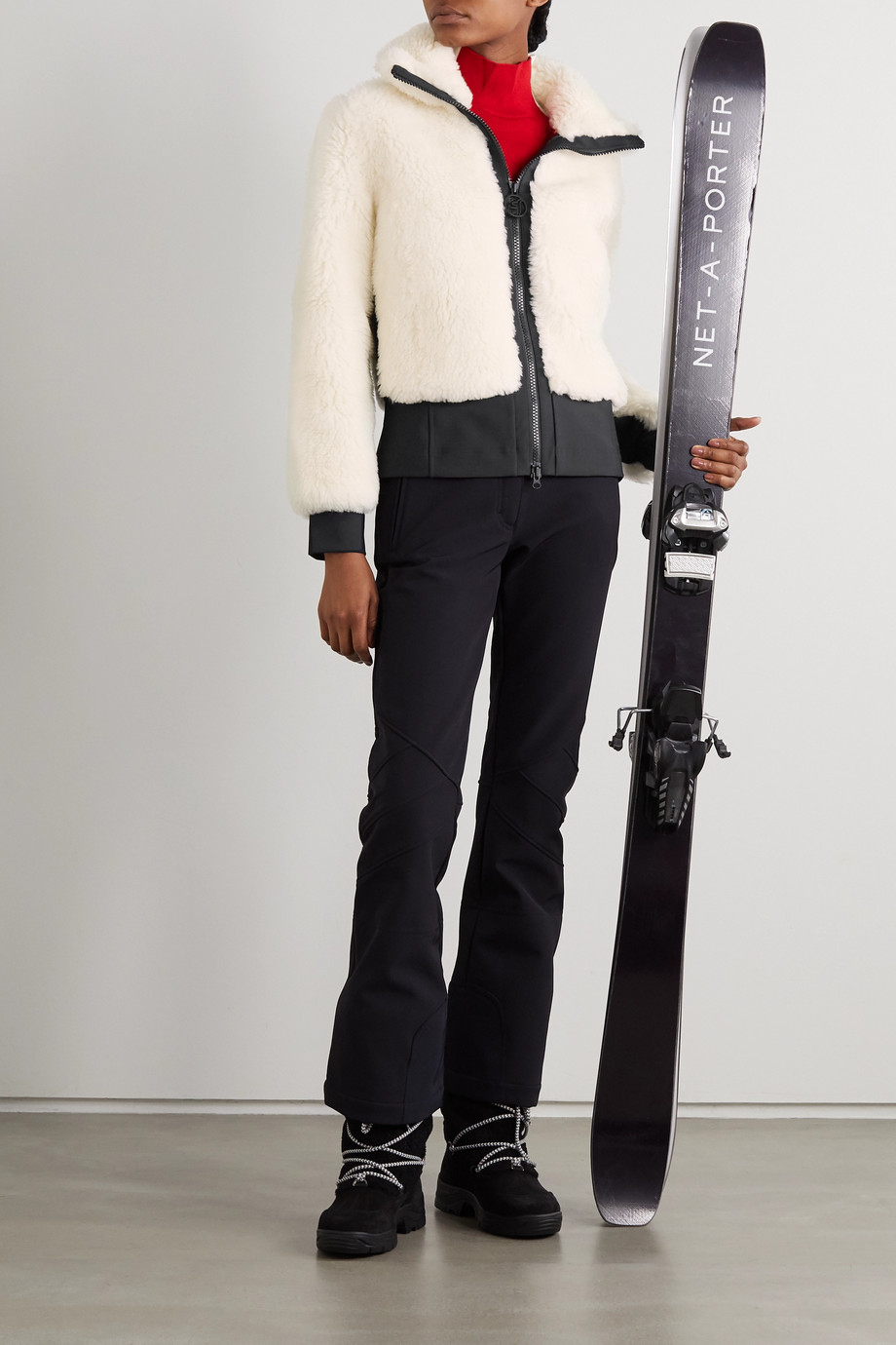 TONI SAILER Rika tech jersey-trimmed wool-blend faux shearling ski jacket