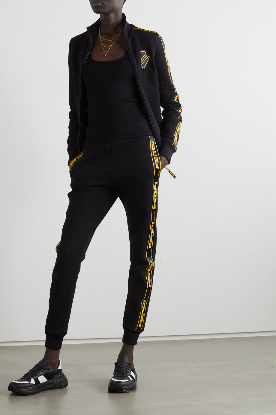FENDI Logo-detailed cotton-jersey track pants