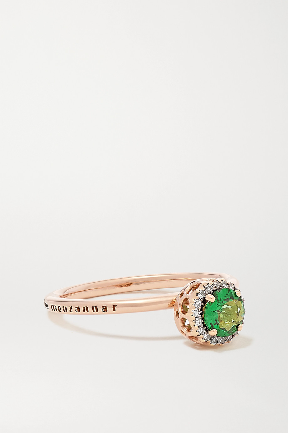 SELIM MOUZANNAR Beirut Basic 18-karat rose gold, tsavorite and diamond ring