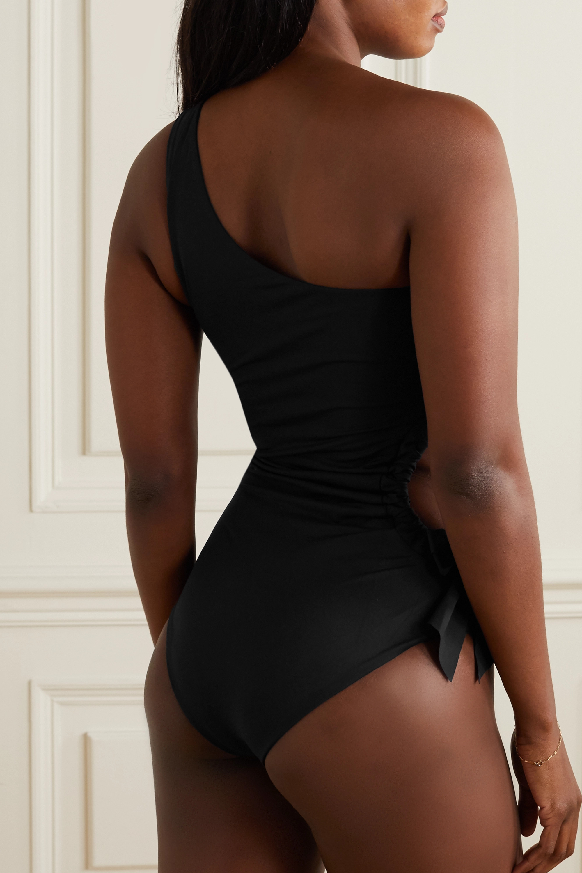 MARYSIA Andria one-shoulder bow-detailed cutout swimsuit