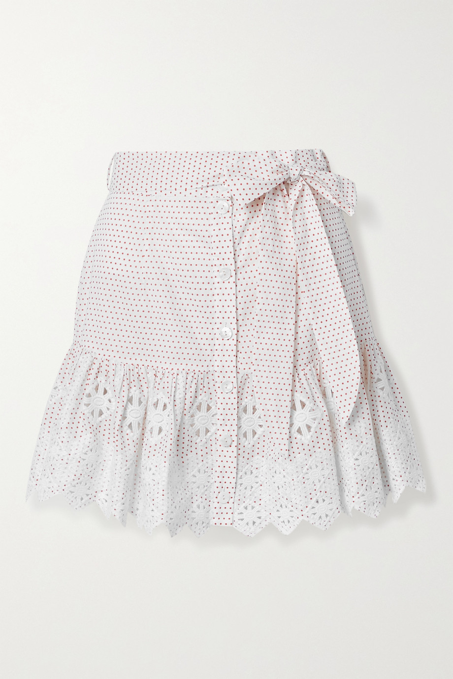 MIGUELINA Emy embroidered polka-dot cotton-poplin mini skirt