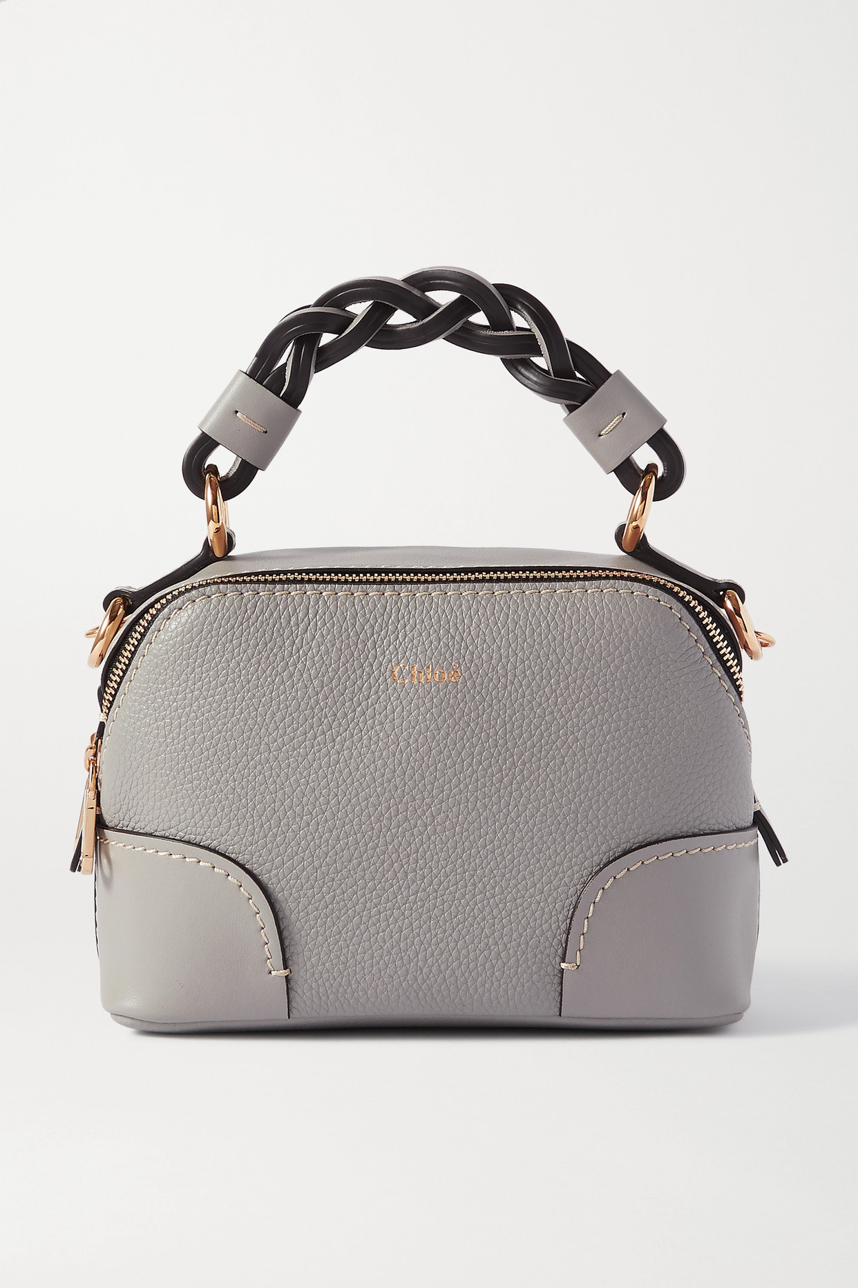 CHLOÉ - Daria Mini Textured And Smooth Leather Shoulder Bag - Gray - one size