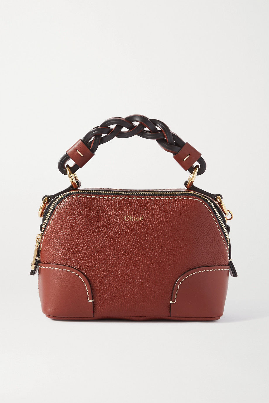 Chloé Daria mini smooth and full-grain leather tote bag