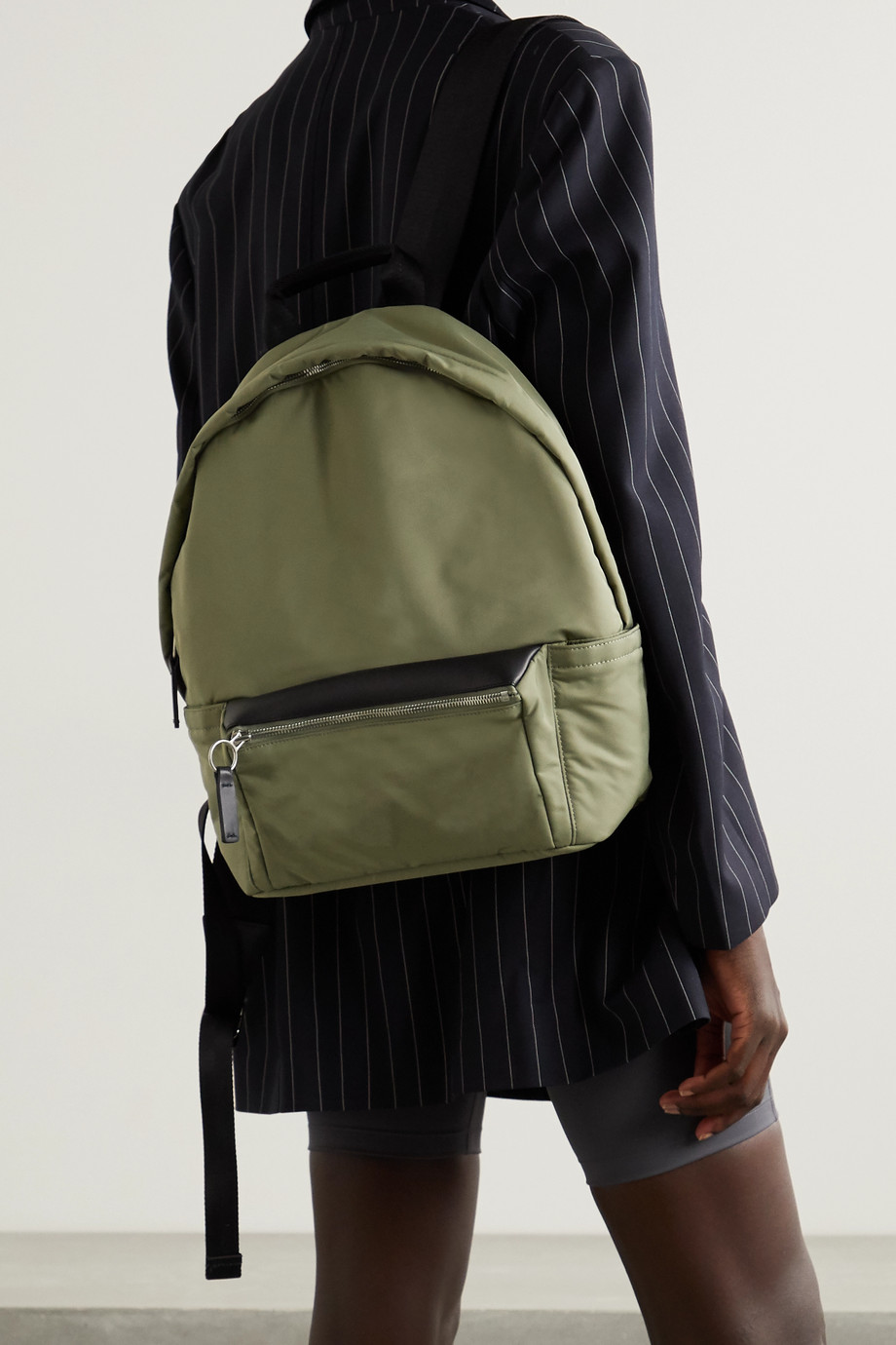 TRANSIENCE Flight leather-trimmed shell backpack