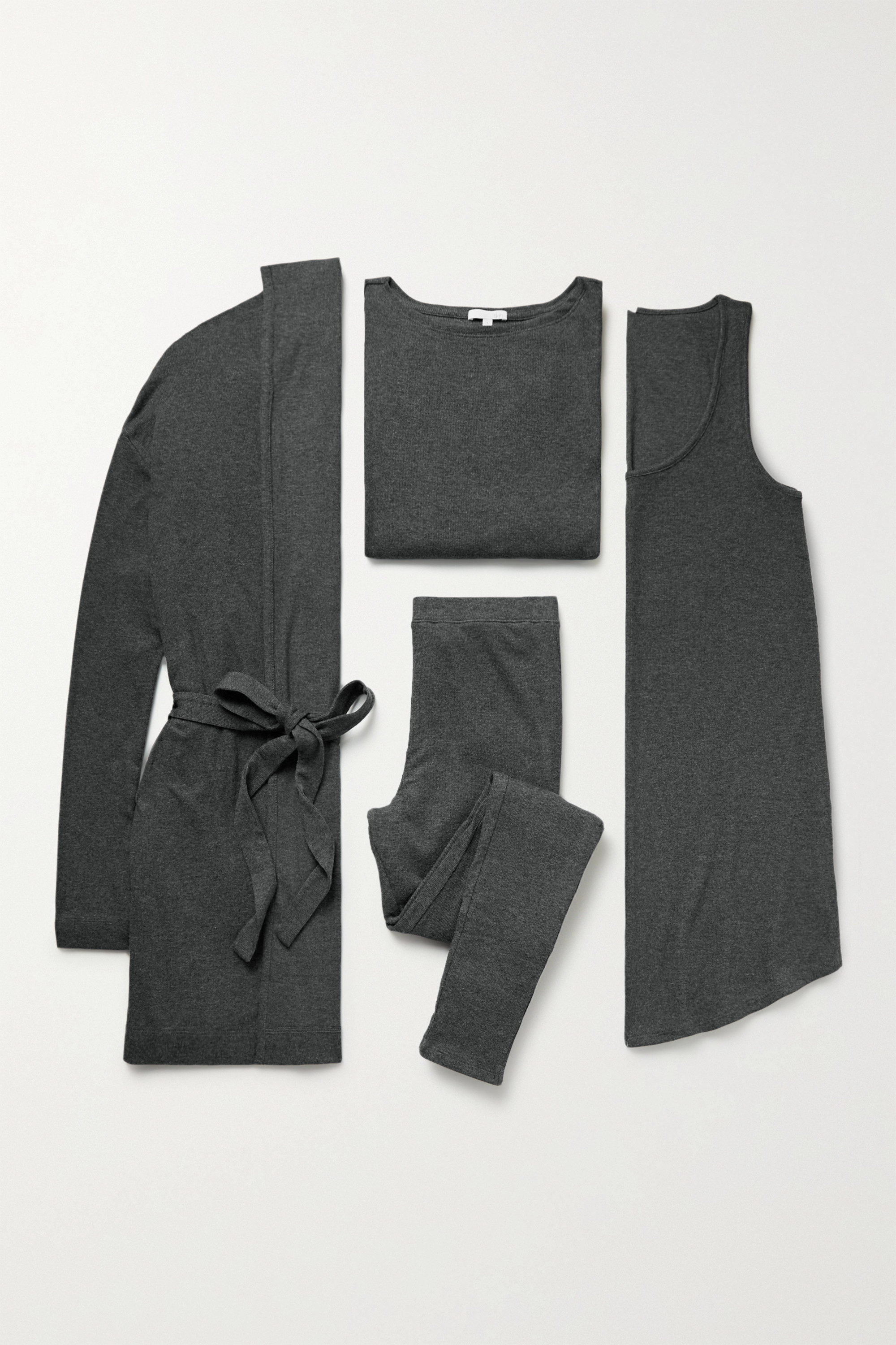 Skin Ribbed stretch Pima cotton and modal-blend travel set