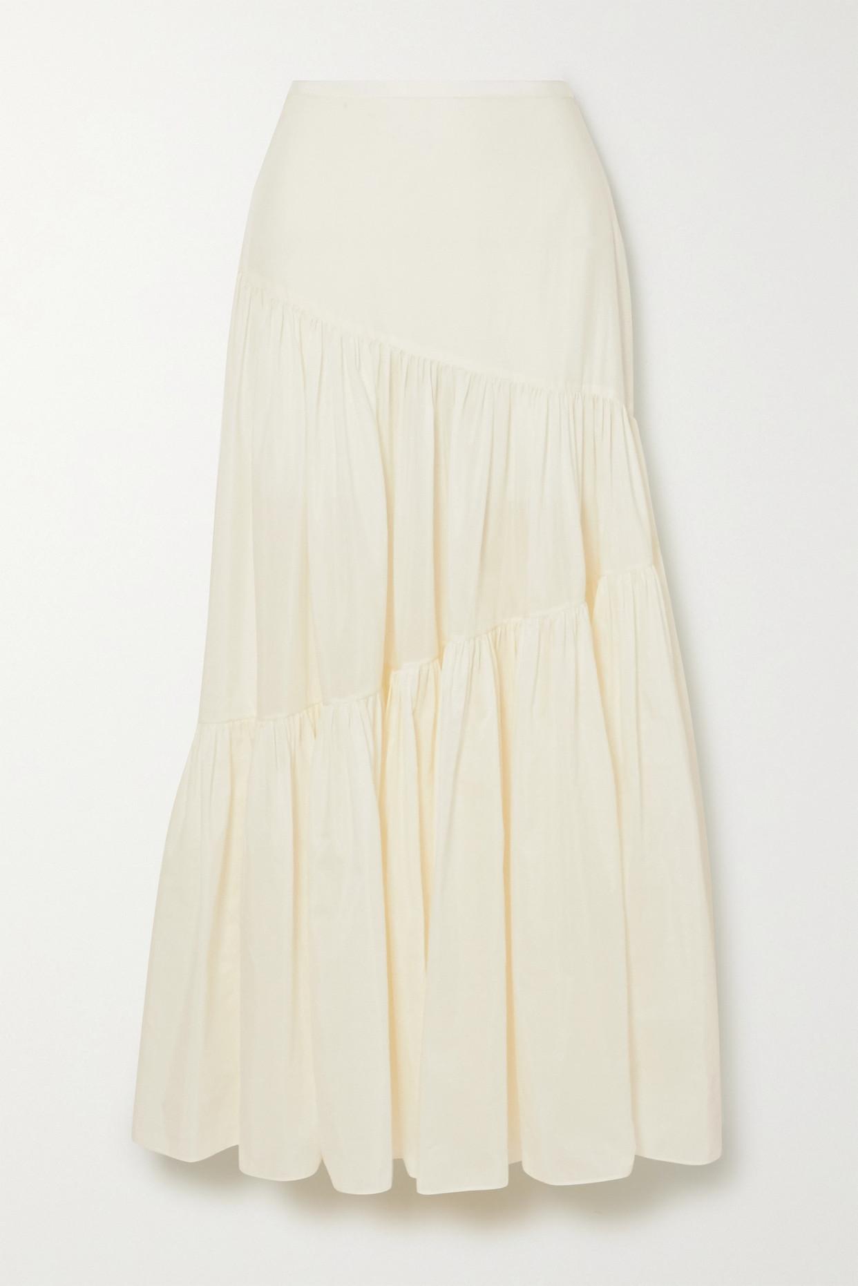 MATTEAU - + Net Sustain Tiered Cotton And Silk-blend Maxi Skirt - Ecru - 5