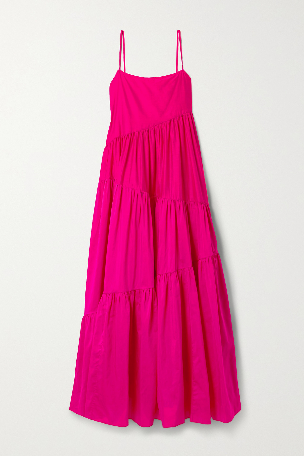 MATTEAU - + Net Sustain Open-back Tiered Cotton And Silk-blend Voile Maxi Dress - Pink - 5