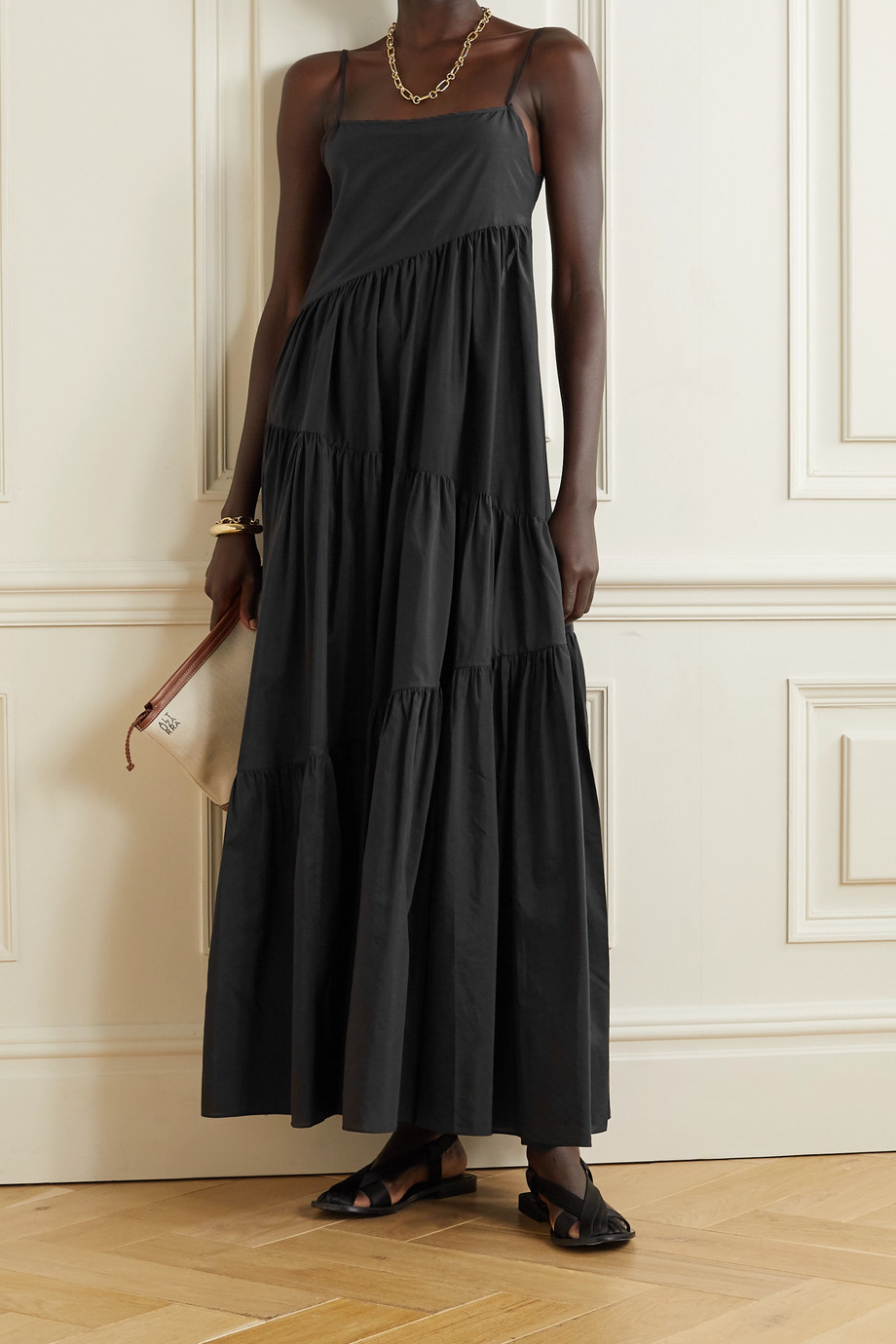 MATTEAU + NET SUSTAIN open-back tiered cotton and silk-blend voile maxi dress