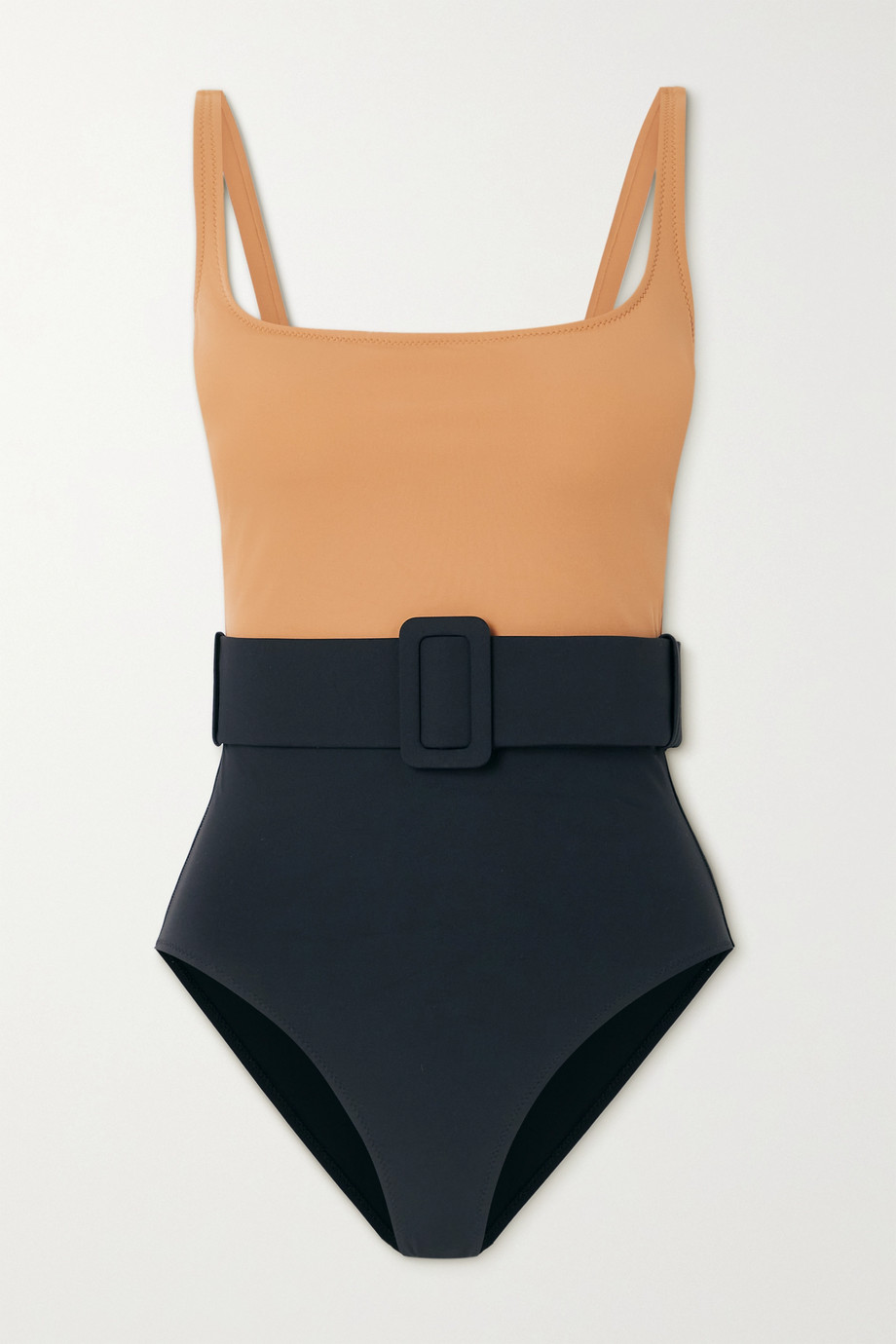 EVARAE + NET SUSTAIN Cassandra belted two-tone stretch-ECONYL swimsuit