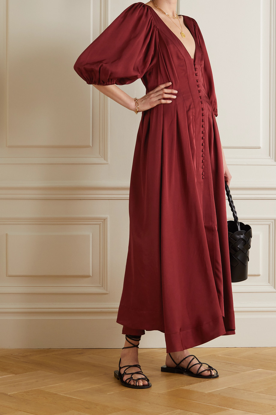 FIL DE VIE Casablanca pleated silk midi dress