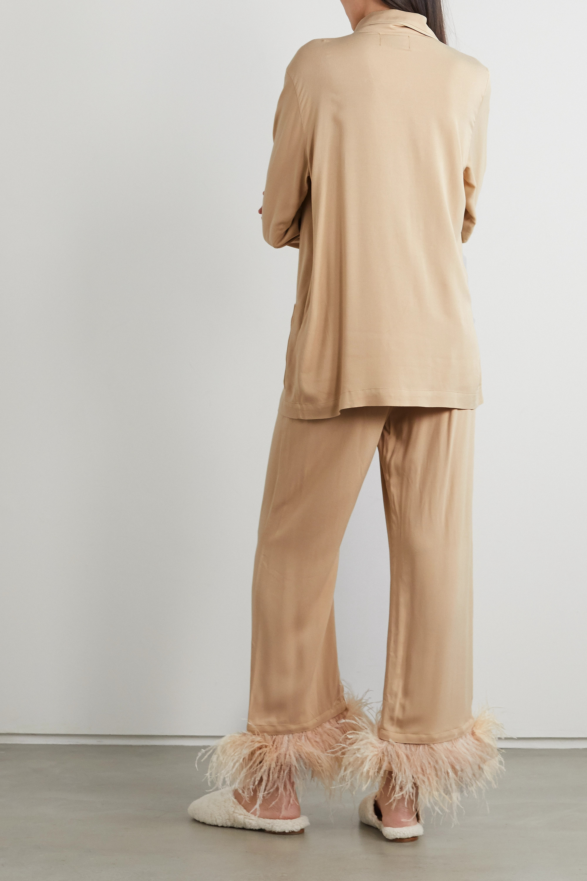 SLEEPER Party feather-trimmed crepe de chine pajama set