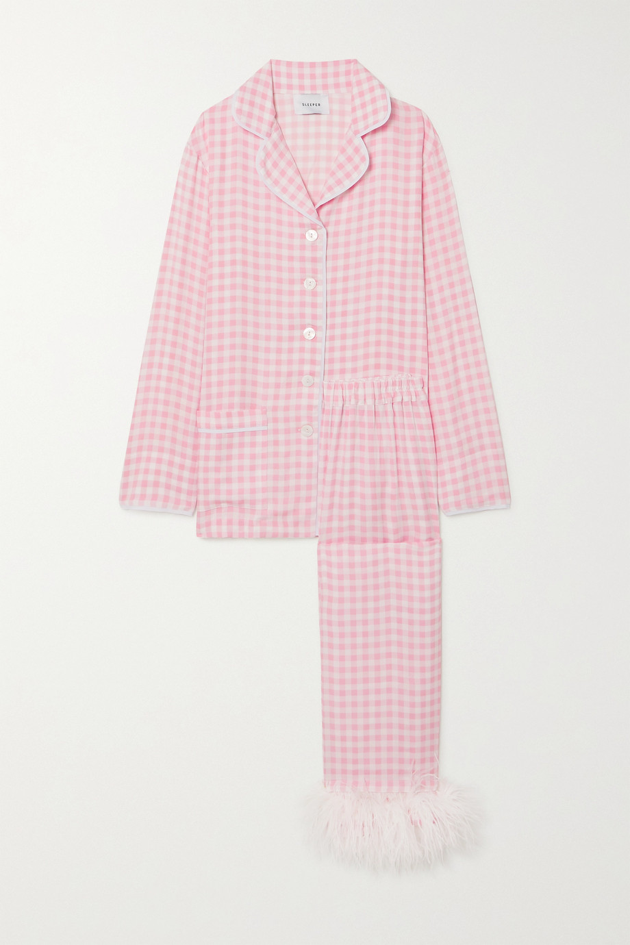 SLEEPER Feather-trimmed gingham crepe de chine pajama set