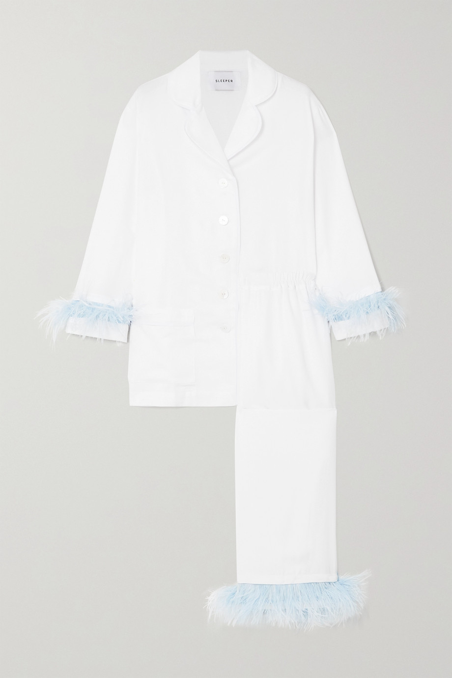 SLEEPER Feather-trimmed crepe de chine pajama set