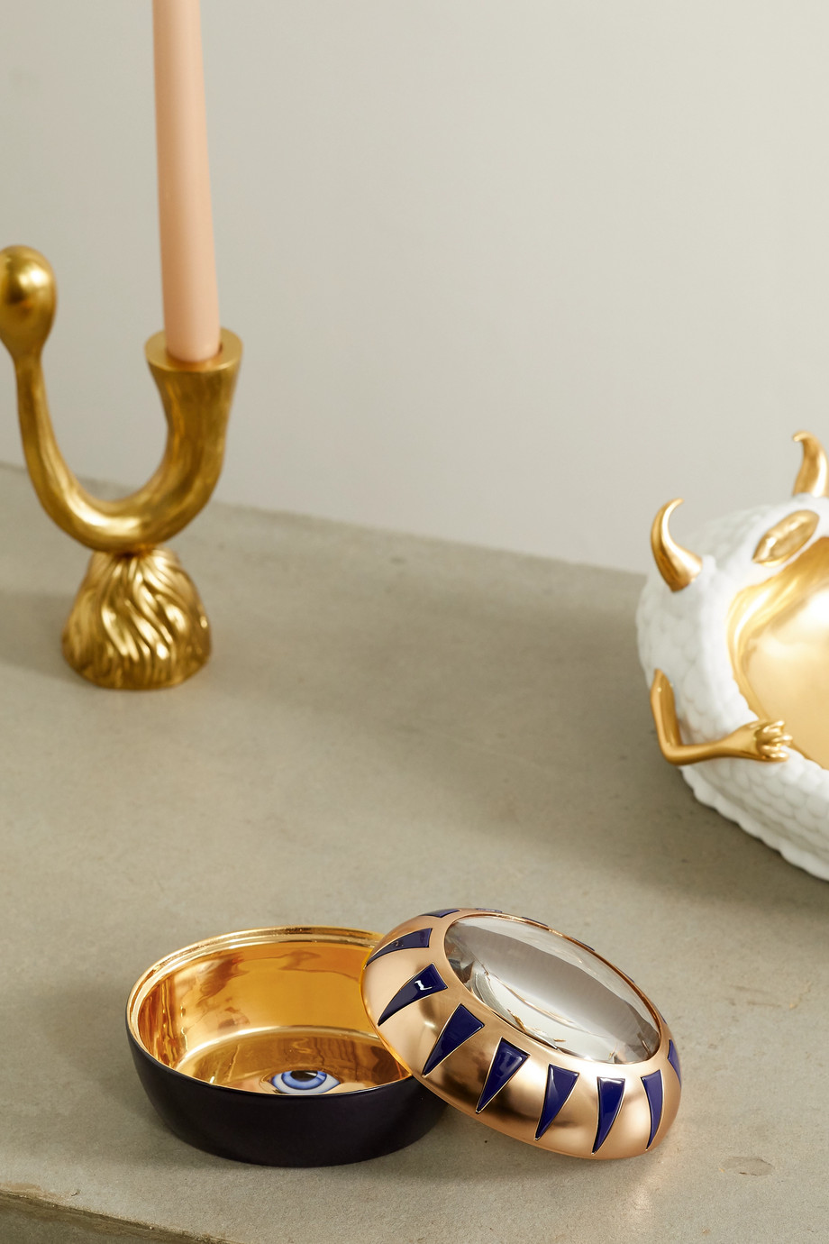 L'OBJET + Lito gold-plated porcelain, resin and glass trinket box