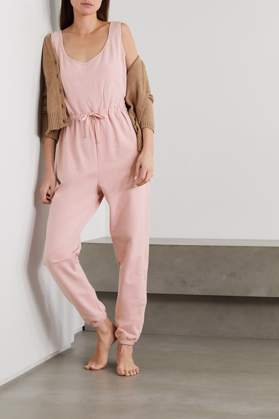 NINETY PERCENT + NET SUSTAIN brushed organic cotton-jersey jumpsuit