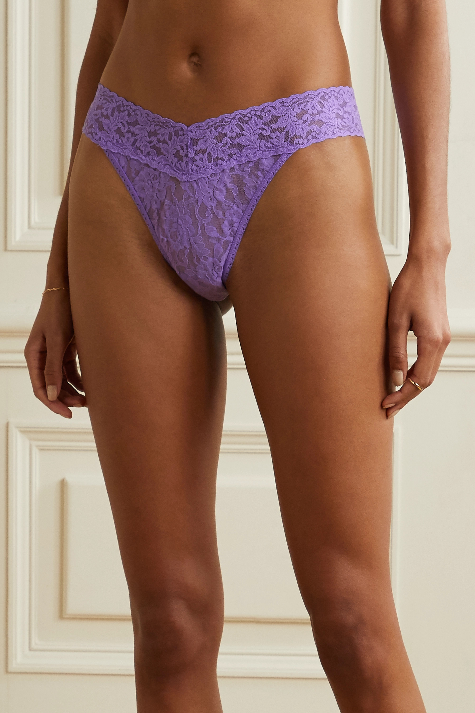 HANKY PANKY + NET SUSTAIN Signature set of three stretch-lace thongs