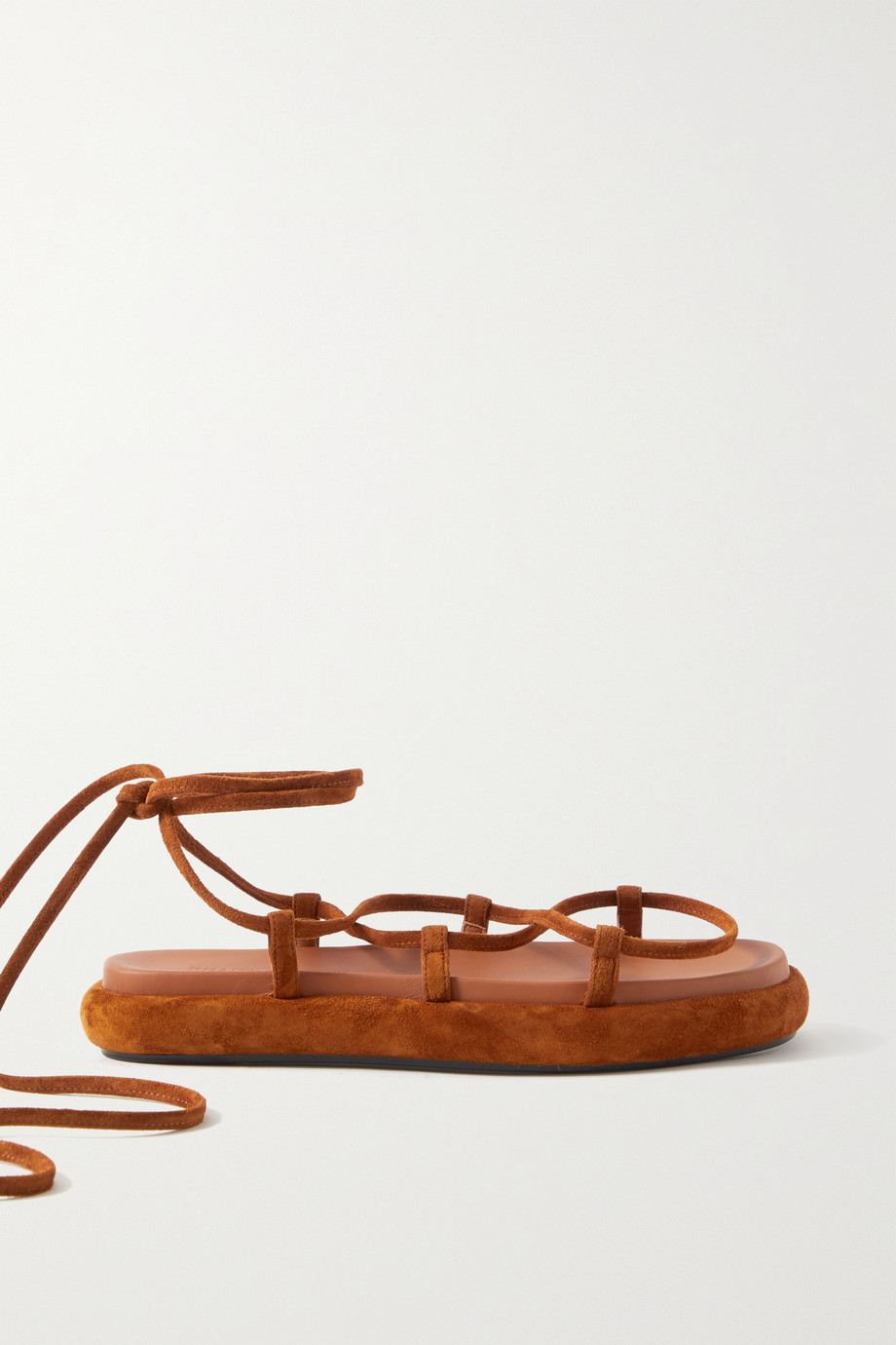 KHAITE Alba leather-trimmed suede sandals