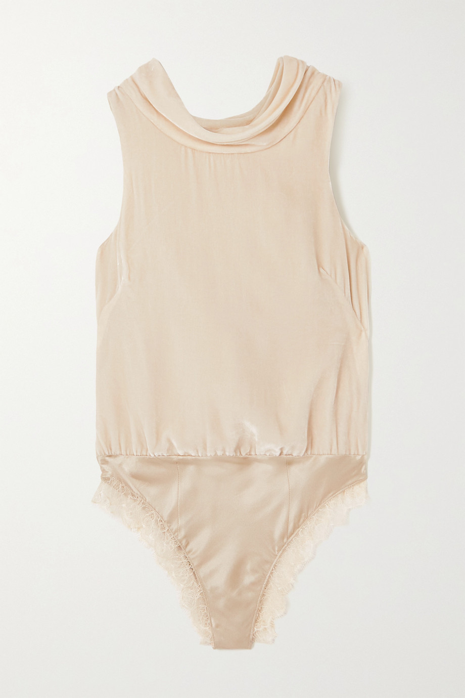 SLEEPING WITH JACQUES Bianca open-back lace-trimmed velvet and satin bodysuit