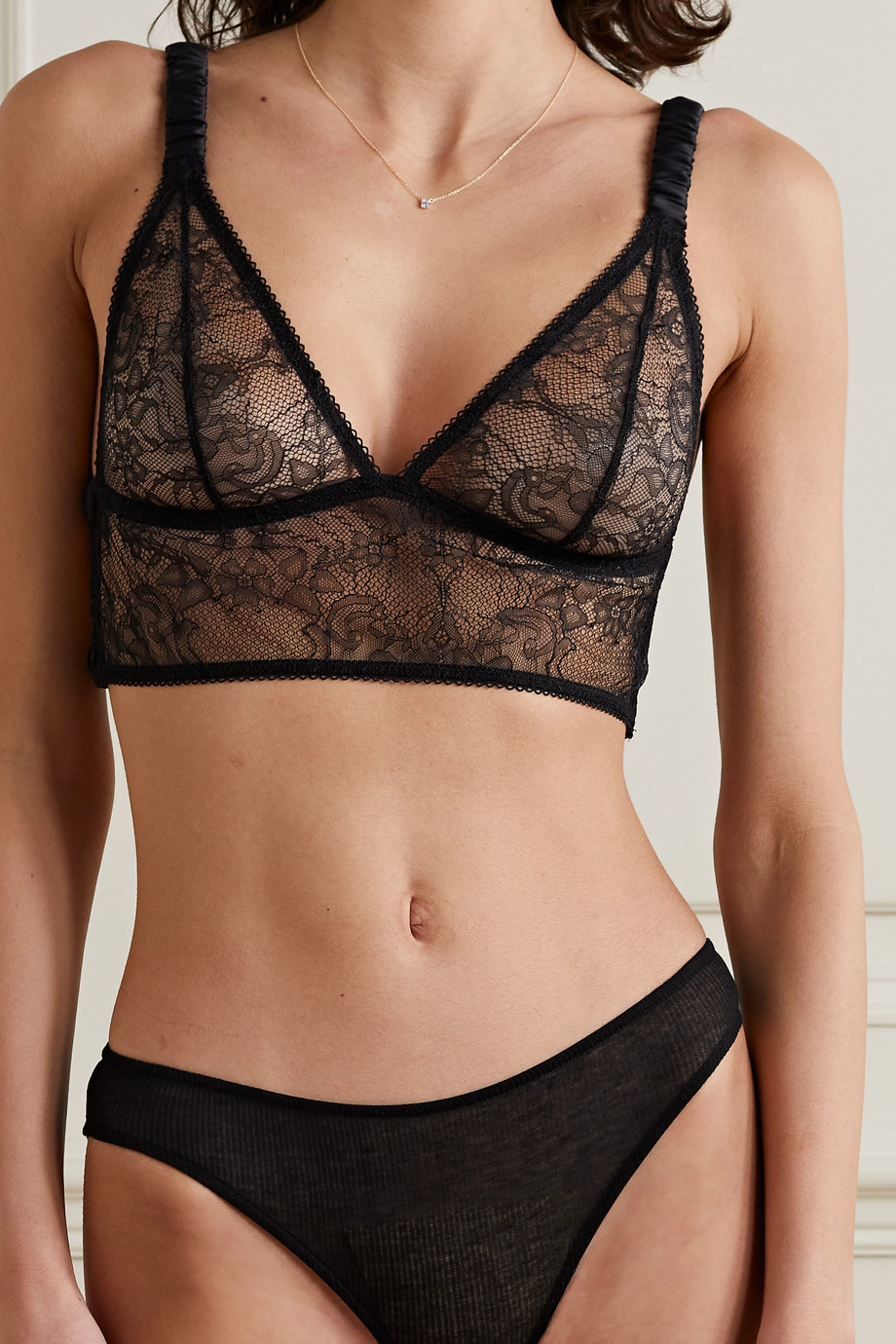 ANINE BING Cutout satin-trimmed lace soft-cup triangle bralette