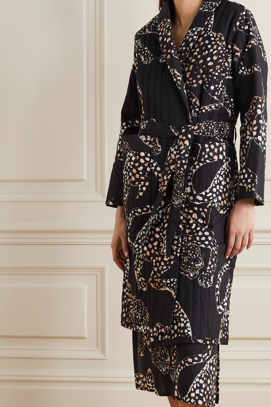 DESMOND & DEMPSEY Jag belted quilted printed voile robe