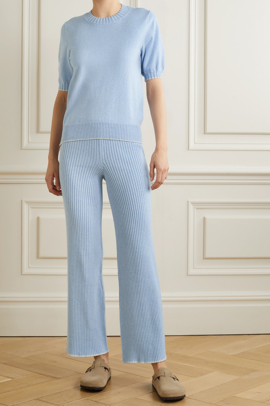 SKIN Maddie ribbed cotton and cashmere-blend track pants