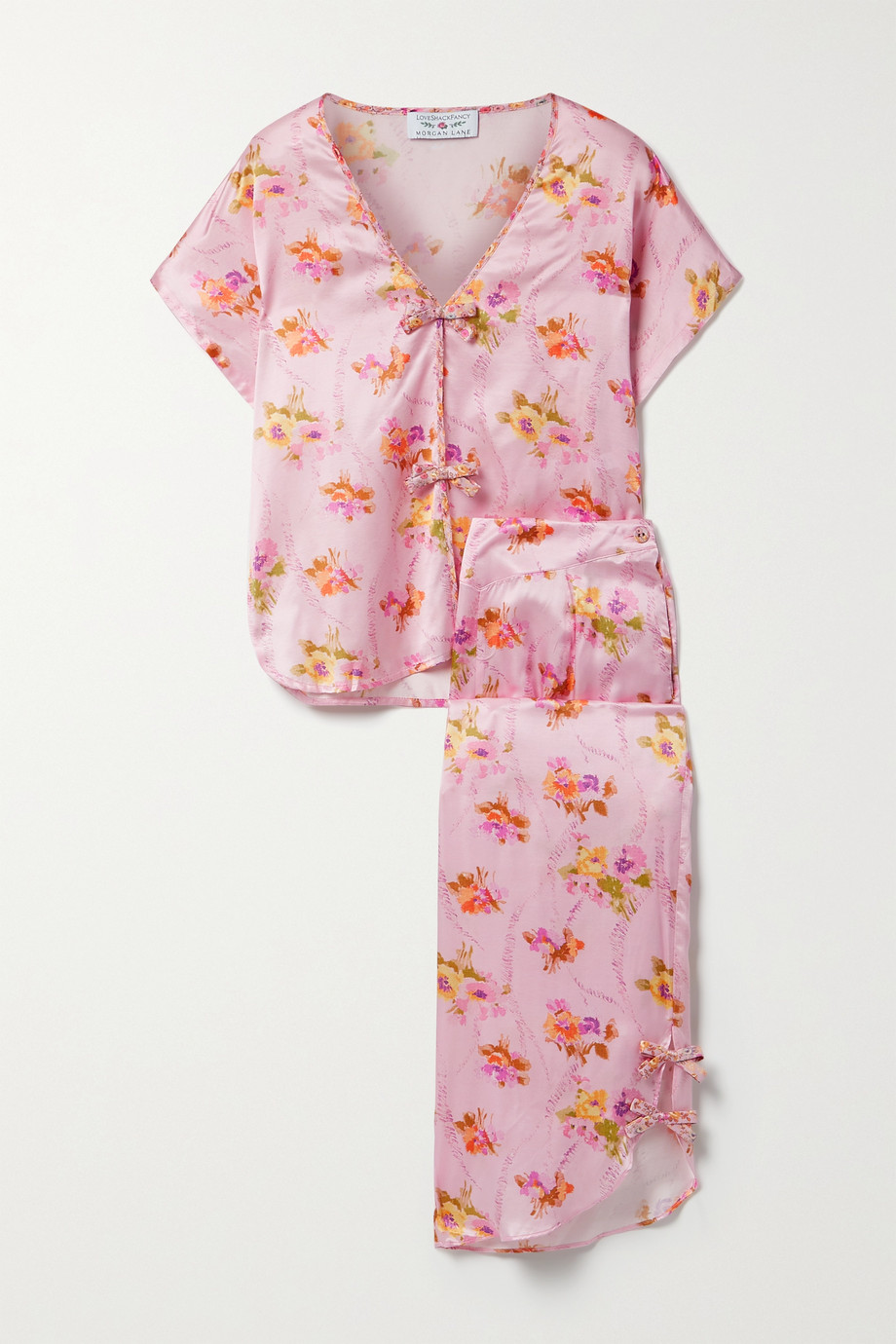 MORGAN LANE + LoveShackFancy Joanie Margo floral-print satin pajama set