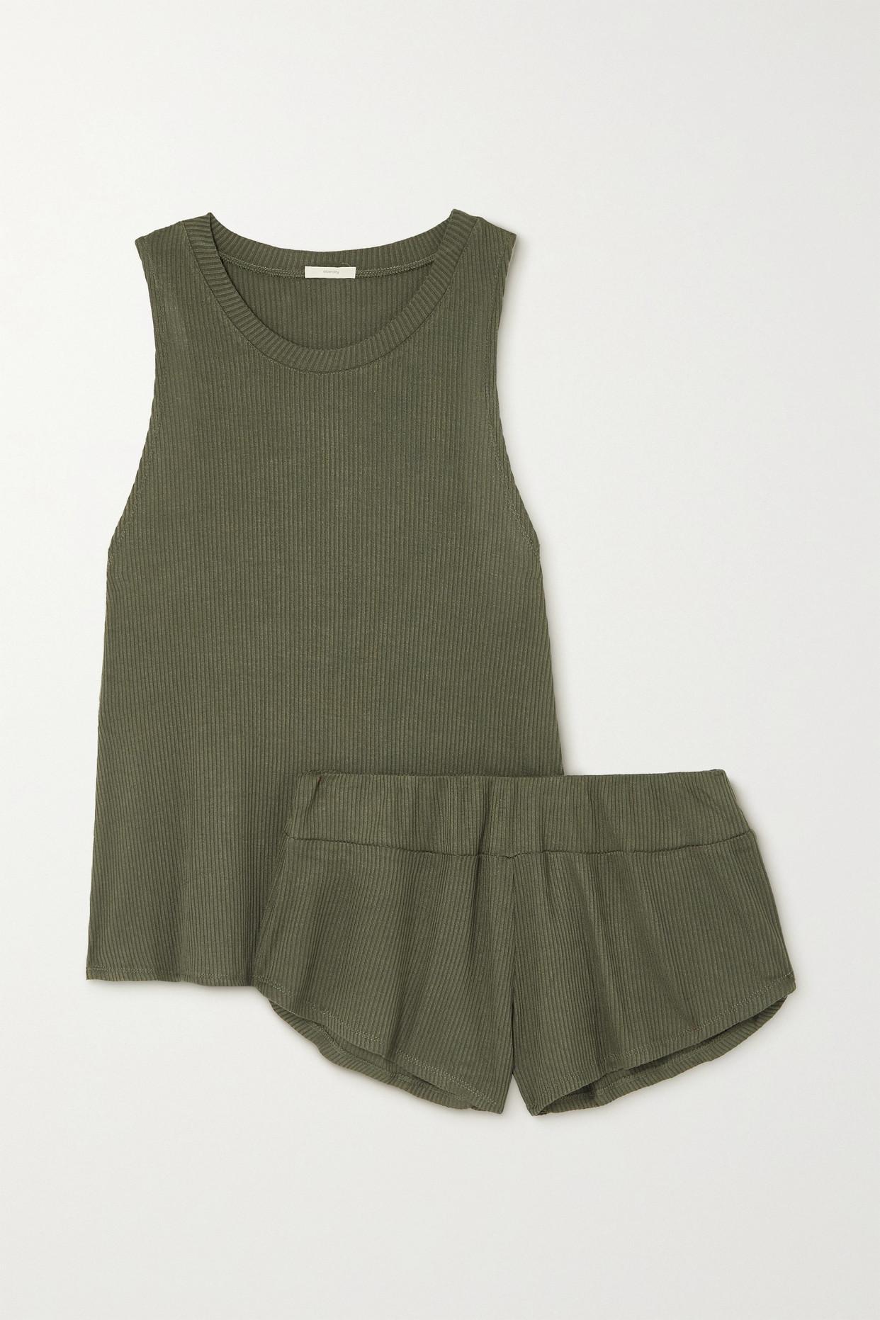 EBERJEY - Elon Ribbed Jersey Pajama Set - Green - small