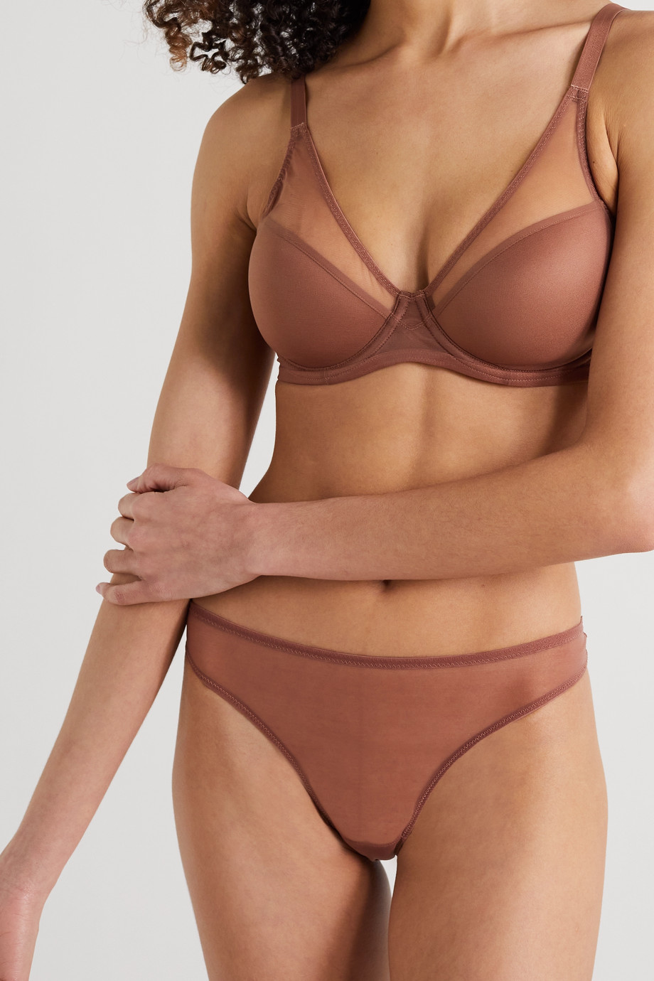 AGENT PROVOCATEUR Lucky stretch-tulle thong
