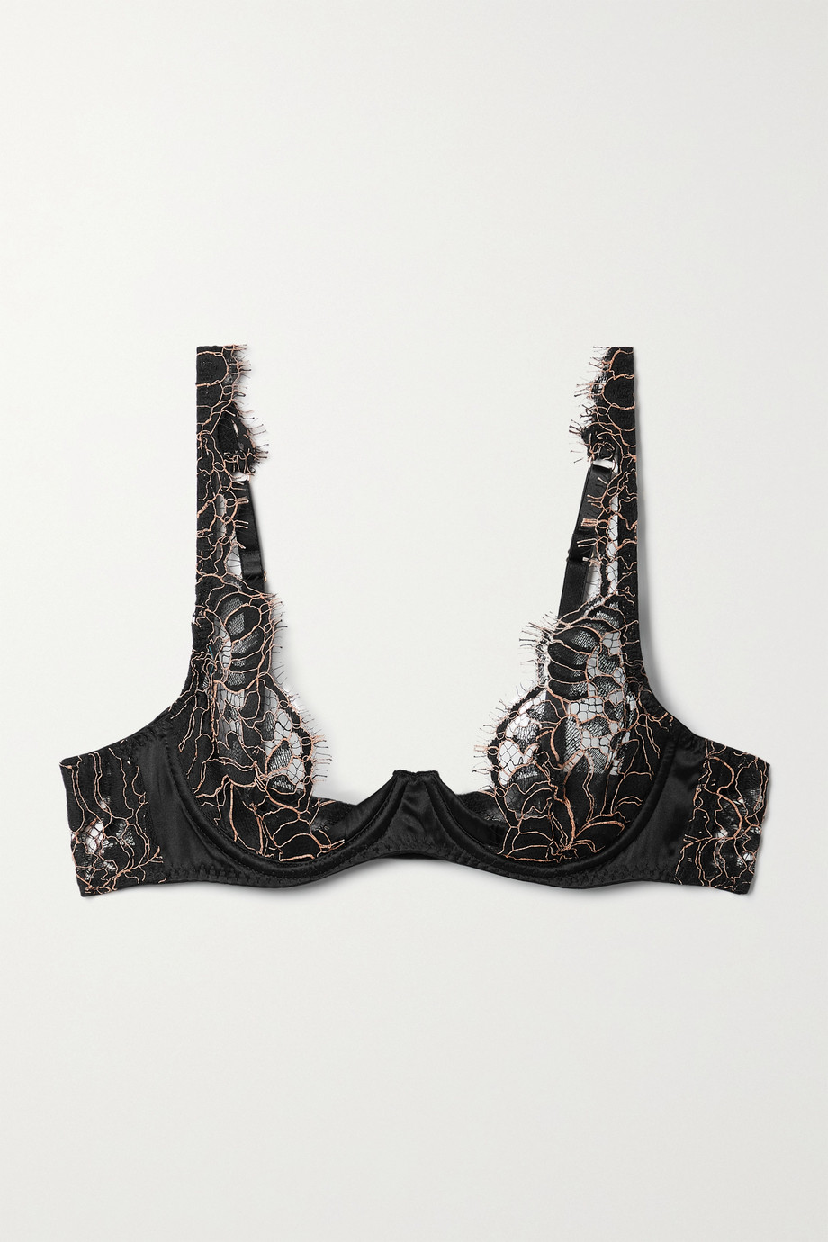 COCO DE MER Rivera satin-trimmed corded lace underwired plunge bra
