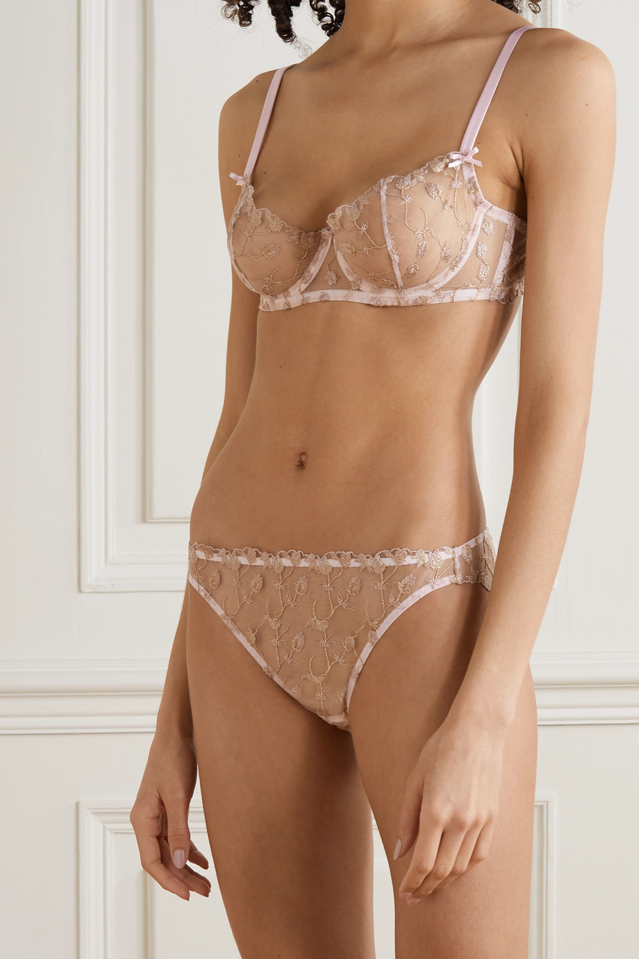COCO DE MER Elizabeth satin-trimmed embroidered tulle briefs