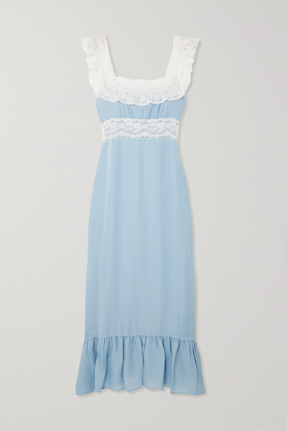 Lorreta Caponi Margherita lace-trimmed silk-georgette nightdress