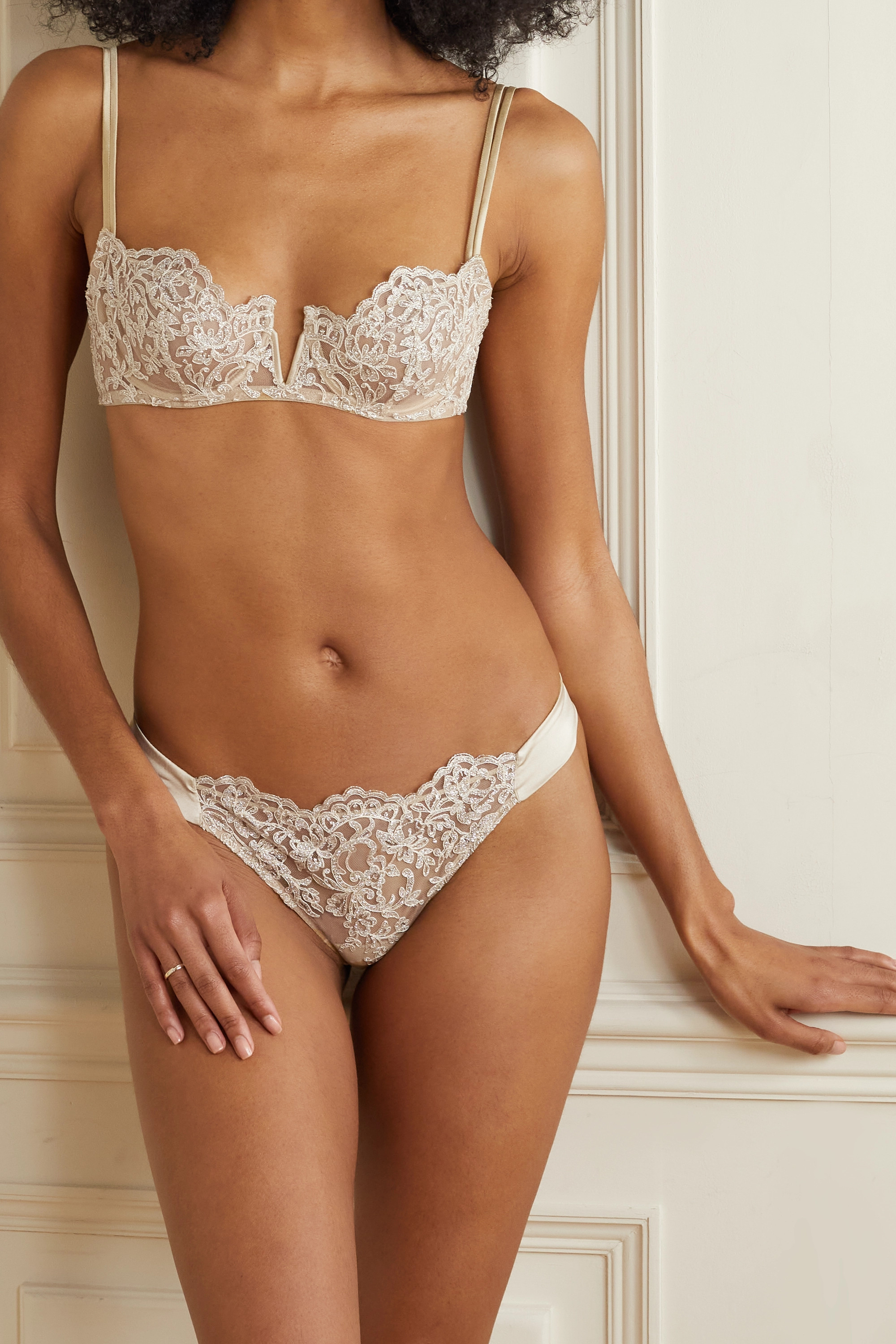 I.D. SARRIERI In The Mood For Love metallic corded lace, stretch-jersey and satin briefs